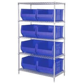 "Quantum WR5-975 Chrome wire Shelving With 8 30""D Hopper Bins Blue, 30x42x74"