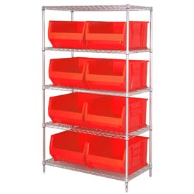 "Quantum WR5-995 Chrome Wire Shelving With 8 36""D Hopper Bins Red, 36x48x86"
