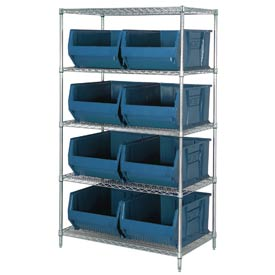 "Quantum WR5-997 Chrome Wire Shelving With 8 36""D Hopper Bins Blue, 36x48x86"