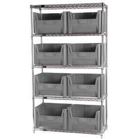 Quantum WR5-700 Chrome Wire Shelving With 8 Giant Hopper Bins Gray, 18x42x74