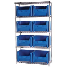 Quantum WR5-700 Chrome Wire Shelving With 8 Giant Hopper Bins Blue, 18x42x74