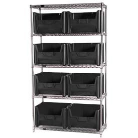 Quantum WR5-700 Chrome Wire Shelving With 8 Giant Hopper Bins Black, 18x42x74
