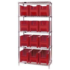 Quantum WR5-600 Chrome Wire Shelving With 12 Giant Hopper Bins Red, 18x36x74