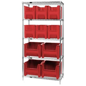 Quantum WR5-600800 Chrome Wire Shelving With 10 Giant Hopper Bins Red, 18x36x74