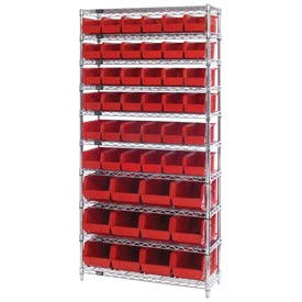 Chrome Wire Shelving With 48 Giant Plastic Stacking Bins Red, 36x14x74