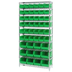 Chrome Wire Shelving With 48 Giant Plastic Stacking Bins Green, 36x14x74