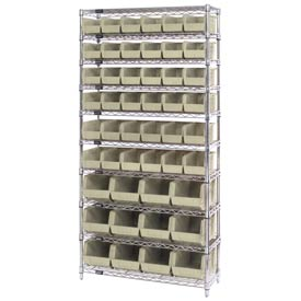 Chrome Wire Shelving With 48 Giant Plastic Stacking Bins Ivory, 36x14x74