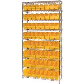 "Quantum WR9-201 Chrome Wire Shelving with 64 6""H Plastic Shelf Bins Yellow, 36x12x74"