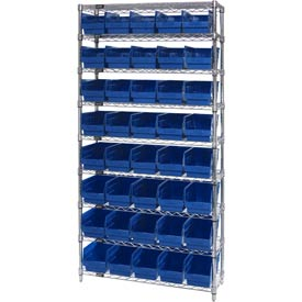 "Quantum WR9-202 Chrome Wire Shelving with 40 6""H Plastic Shelf Bins Blue, 36x12x74"