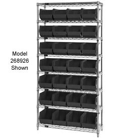 Quantum WR7-245 Chrome Wire Shelving With 24 Giant Plastic Stacking Bins Black, 36x12x74