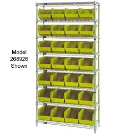Quantum WR7-245 Chrome Wire Shelving With 24 Giant Plastic Stacking Bins Yellow, 36x12x74