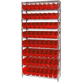 "Quantum WR9-203 Chrome Wire Shelving with 64 6""H Plastic Shelf Bins Red, 36x18x74"