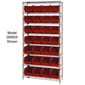 Quantum WR7-245 Chrome Wire Shelving With 24 Giant Plastic Stacking Bins Red, 36x12x74