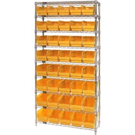 "Quantum WR9-204 Chrome Wire Shelving with 40 6""H Plastic Shelf Bins Yellow, 36x18x74"