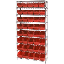 "Quantum WR9-204 Chrome Wire Shelving with 40 6""H Plastic Shelf Bins Red, 36x18x74"