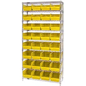 "Quantum WR9-208 Chrome Wire Shelving with 32 6""H Plastic Shelf Bins Yellow, 36x18x74"