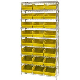 "Quantum WR9-210 Chrome Wire Shelving with 24 6""H Plastic Shelf Bins Yellow, 36x18x74"