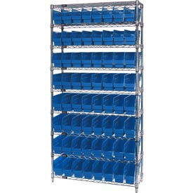 "Quantum WR9-205 Chrome Wire Shelving with 64 6""H Plastic Shelf Bins Blue, 36x24x74"