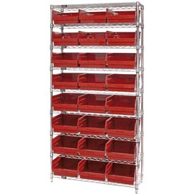 "Quantum WR9-216 Chrome Wire Shelving with 24 6""H Plastic Shelf Bins Red, 36x24x74"