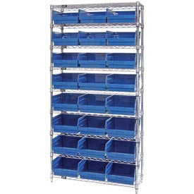 "Quantum WR9-216 Chrome Wire Shelving with 24 6""H Plastic Shelf Bins Blue, 36x24x74"