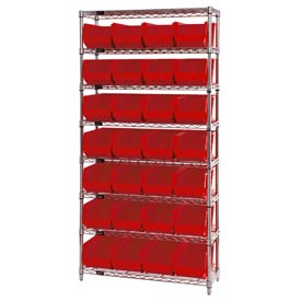 Chrome Wire Shelving With 28 Giant Plastic Stacking Bins Red, 36x14x74