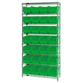 Chrome Wire Shelving With 28 Giant Plastic Stacking Bins Green, 36x14x74