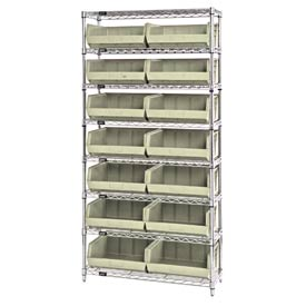 Chrome Wire Shelving With 14 Giant Plastic Stacking Bins Ivory, 36x14x74