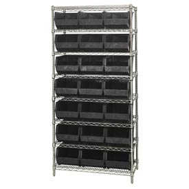 Quantum WR8-255 Chrome Wire Shelving With 21 Giant Plastic Stacking Bins Black, 36x18x74
