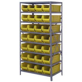 "Quantum 2475-950 Steel Shelving with 28 24""D Hulk Hopper Bins Yellow, 24x36x75"