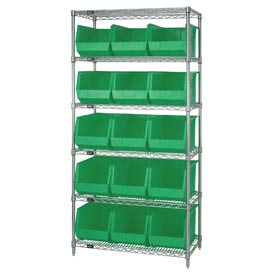 Quantum WR6-260 Chrome Wire Shelving With 15 Giant Plastic Stacking Bins Green, 36x18x74
