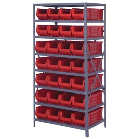 "Quantum 2475-950 Steel Shelving with 28 24""D Hulk Hopper Bins Red, 24x36x75"