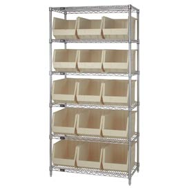 Quantum WR6-260 Chrome Wire Shelving With 15 Giant Plastic Stacking Bins Ivory, 36x18x74