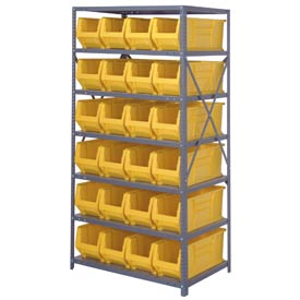 "Quantum 2475-951 Steel Shelving with 24 24""D Hulk Hopper Bins Yellow, 24x36x75"