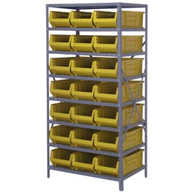 "Quantum 2475-952 Steel Shelving with 21 24""D Hulk Hopper Bins Yellow, 24x36x75"