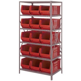 "Quantum 2475-953 Steel Shelving with 15 24""D Hulk Hopper Bins Red, 24x36x75"