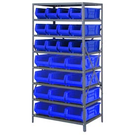 "Quantum 2475-950952 Steel Shelving with 24 24""D Hulk Hopper Bins Blue, 24x36x75"
