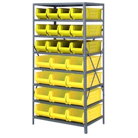 "Quantum 2475-950952 Steel Shelving with 24 24""D Hulk Hopper Bins Yellow, 24x36x75"