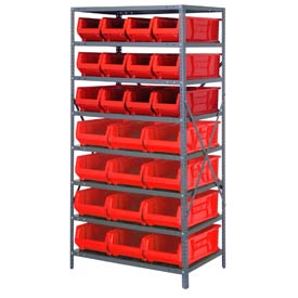 "Quantum 2475-950952 Steel Shelving with 24 24""D Hulk Hopper Bins Red, 24x36x75"