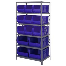 "Quantum 2475-953954 Steel Shelving with 13 24""D Hulk Hopper Bins Blue, 24x36x75"