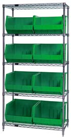Quantum WR5-270 Chrome Wire Shelving With 8 Giant Plastic Stacking Bins Green, 36x18x74