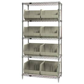 Quantum WR5-270 Chrome Wire Shelving With 8 Giant Plastic Stacking Bins Ivory, 36x18x74