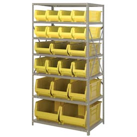 "Quantum 2475-20-MIX Steel Shelving with 20 24""D Hulk Hopper Bins Yellow, 24x36x75"