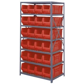 "Quantum 2475-951 Steel Shelving with 24 24""D Hulk Hopper Bins Red, 24x36x75"