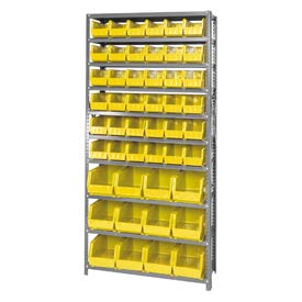 Quantum QSBU-230240 Steel Shelving With 48 Giant Stacking Bins Yellow, 12x36x75