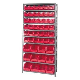 Quantum QSBU-230240 Steel Shelving With 48 Giant Stacking Bins Red, 12x36x75