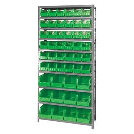 Quantum QSBU-230240 Steel Shelving With 48 Giant Stacking Bins Green, 12x36x75