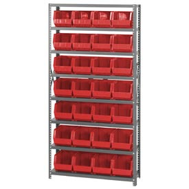 Quantum QSBU-239 Steel Shelving With 28 Giant Stacking Bins Red, 12x36x75