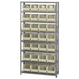Quantum QSBU-239 Steel Shelving With 28 Giant Stacking Bins Ivory, 12x36x75