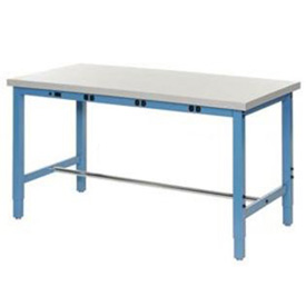 "72""W x 24""D Production Workbench with Power Apron - Plastic Laminate Square Edge - Blue"