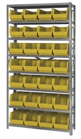 Quantum QSBU-240 Steel Shelving With 28 Giant Stacking Bins Yellow, 12x36x75